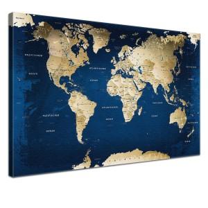 Globus Karte - LanaKK - Weltkarte Ocean mit Kork Rückwand - edel Leinwand Bild Kunstdruck auf Keilrahmen