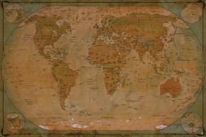 Weltkarte Globus - Great Art Atlas historische Vintage Retro Motiv Fototapete XXL