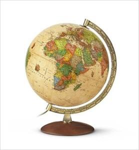 Globus antik - Antikdesign-Leuchtglobus-messingfarbener Metallmeridian