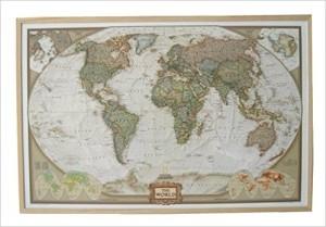 Globus Karte - National Geographic Weltkarte auf Kork-Pinnwand