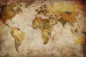 Weltkarte Globus - Great Art Vintage Fototapete Retro Motiv Kontinente XXXL Wandbild