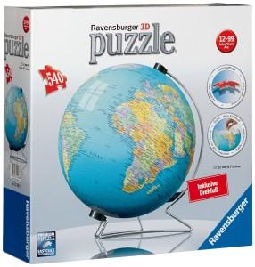 Kinder Globus - Ravensburger 12426 - puzzleball Erde inklusive Drehfuß (Globus), 540 Teile