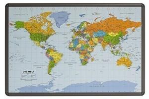 Globus Karte - Weltkarte Kork Pinnwand mit Alurahmen in deutsch