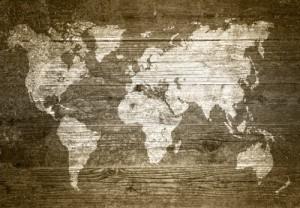 Weltkarte Globus - Fototapete Holzkarte Welt