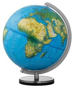 Welt Globus - Holzfuß schwarz mit Edelstahlring: