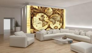 Weltkarte Globus - Consalnet Vlies Fototapete Wandbild Glob Kompass