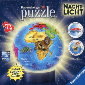 Kinder Globus - Ravensburger 12142 - Kindererde - Nachtlicht puzzleball, 72 Teile