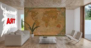VLIES FOTOTAPETE Weltkarte vintage retro antik Welt Map TAPETE WANDBILD 3 Farben